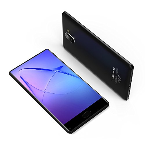 4G LTE Smartphone Ohne Vertrag LEAGOO KIICAA Mix Handy Mobiltelefon Dual SIM Dual Standby 5,5 Zoll Vollbildschirm Fingerabdruck 0,1S Entsperren Triple Kameras Günstiges Telefon (Schwarz)