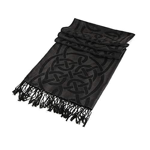 Traditional Pashmina Scarf With Celtic Knotwork Design, Black