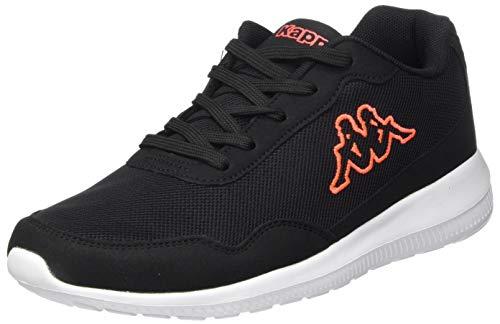 Kappa FOLLOW NC | Freizeit-Sneakers für Frauen und Männer | super-leicht, modisch und zeitlos | angenehmes Tragegefühl | atmungsaktiv, Farbe 1129 black/coral, Größe 38