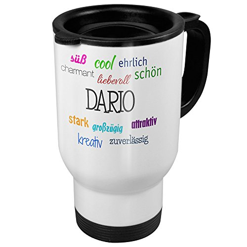 printplanet Thermobecher weiß mit Namen Dario - Motiv Positive Eigenschaften - Coffee to Go Becher, Thermo-Tasse