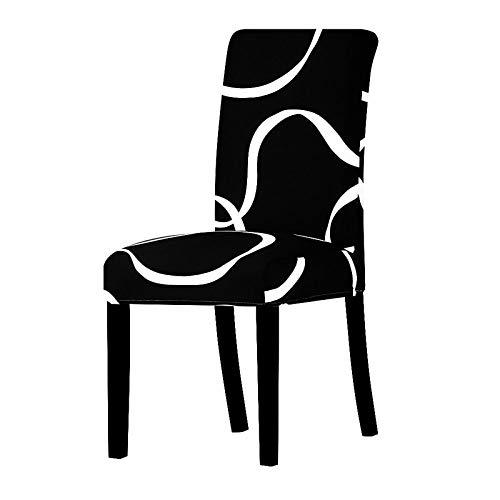 UIRK Esszimmer Stretch Stuhlhussen,Modern Dining Chair Protector Weiße Linien Drucken Schwarz Kreative Abnehmbare Waschbare Elastische Stuhlsitzbezüge Für Hotelhochzeitsbankett, 4 Pcs/Packet