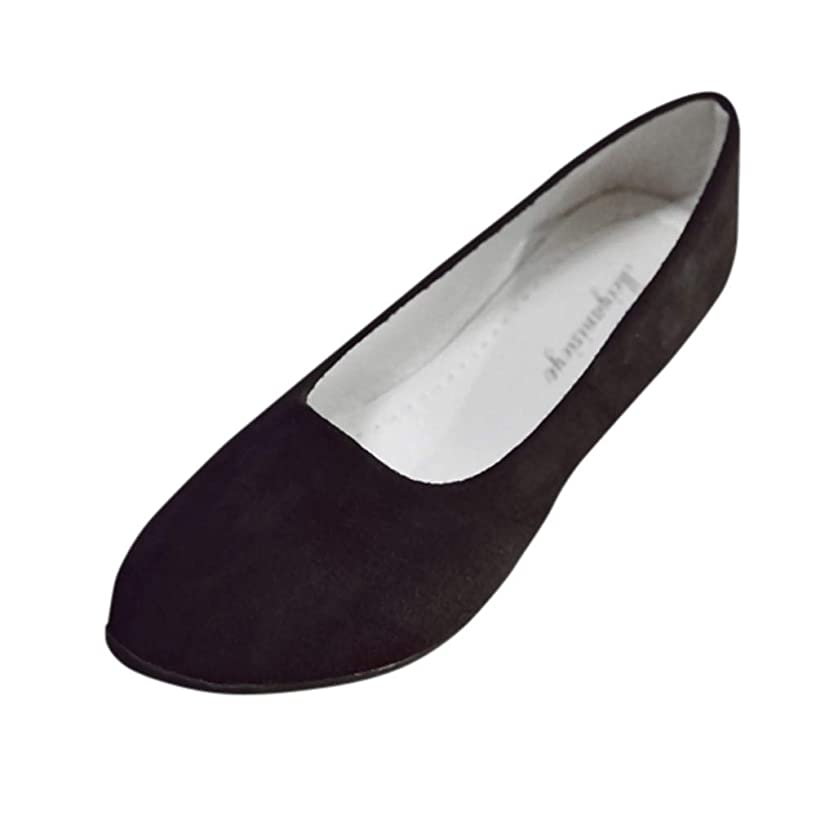 Aunimeifly Women Simple Solid Color Slip On Flats Ladies Round Toe Shoes for Work Casual Ballerina Shoes Sandals