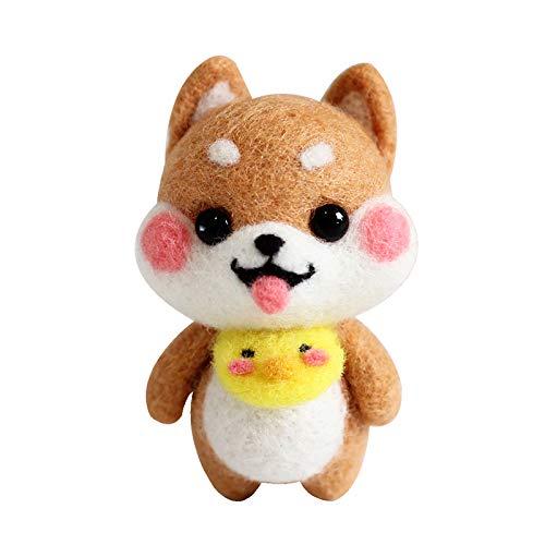 YXQSED Lana de Fieltro Felting Kit Básico de Fieltro de Lana para Hilar a Mano Proyectos de Arte de Bricolaje -Perro bebé Shiba Inu