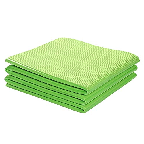 Fransande - Esterilla de yoga plegable de TPE de 6 mm, cojín de ejercicio, esterilla de gimnasia, plegable, antideslizante, alfombra de pilates para la casa de gimnasia, color verde
