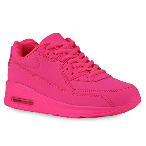 stiefelparadies Trendige Unisex Damen Herren Kinder Sport Metallic Camouflage Blumen Sneaker Low Bunt Glitzer Schnürer Schuhe 126775 Pink 37 Flandell
