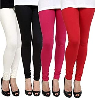 Aniefashion Women's Cotton Lycra Strechable Skinny Fit Leggings Combo Offer for Women_Free Size (Pack of 4) (White, Black,...