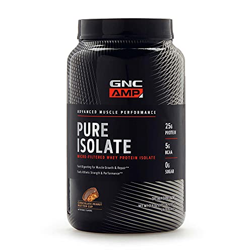 GNC AMP Pure Isolate - Chocolate Peanut Butter Cup, 28 Servings, 25 Grams of Whey Protein Isolate
