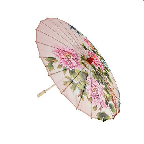 FLAMEER 1 Pieza Paraguas Parasol de Tela de Seda Pintado de Arte Accesorios Decoración para Boda - 4