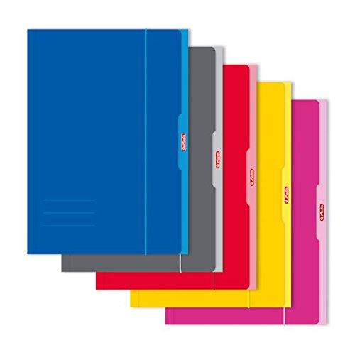 Herlitz 444315 Sammelmappe A3, 1 Stück, farbig sortiert: rot/gelb/pink/grau/blau