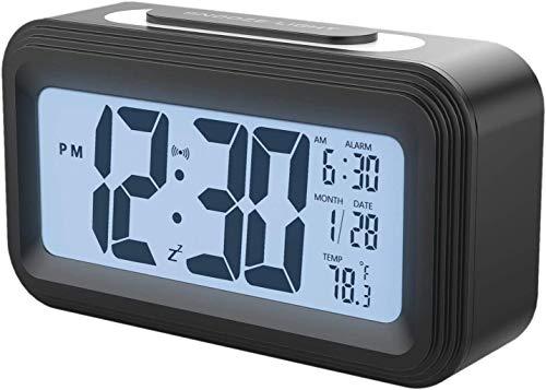 BECCYYLY LCD LCD electrónica Pantalla de Alarma Digital con Snooze, Reloj de Alarma con batería, Reloj de Alarma Ajustable, mesita de Noche, Escritorio, Estante wmpa