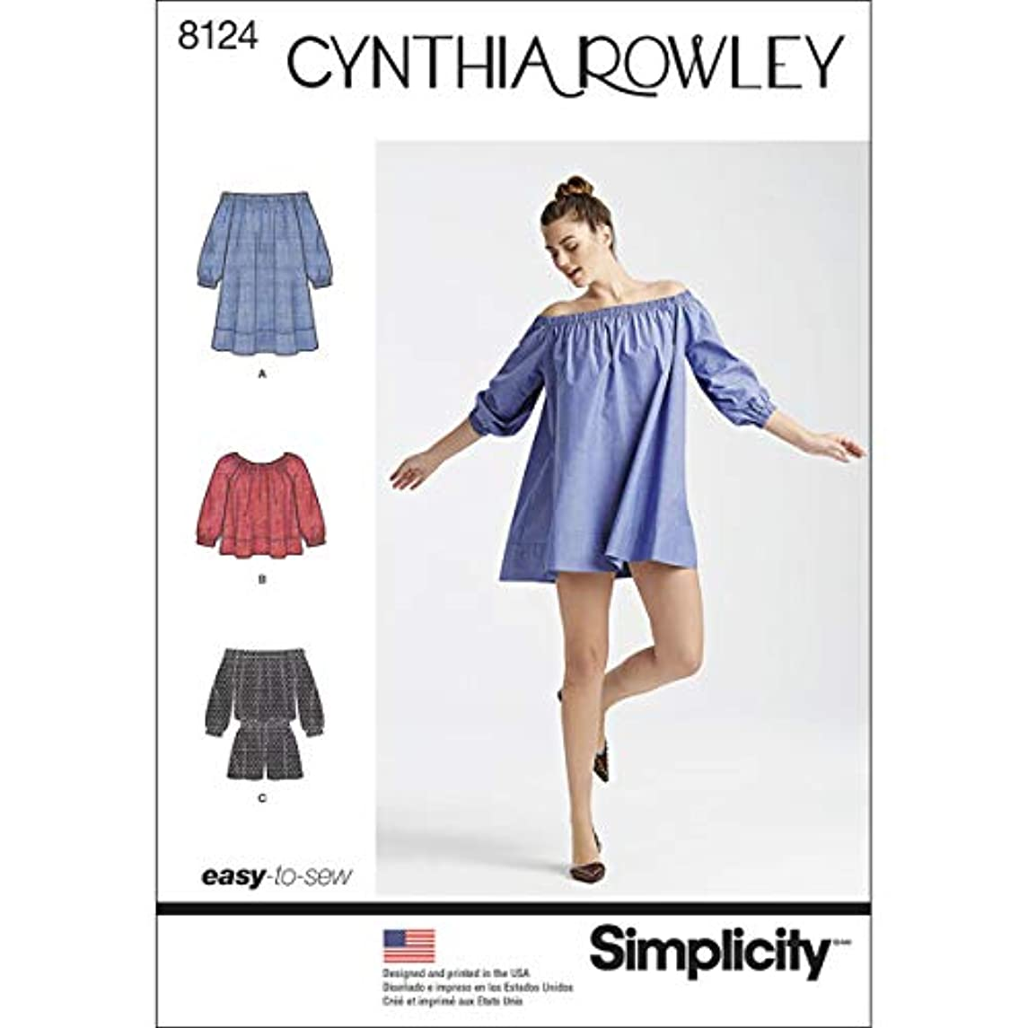 Simplicity 8124 Women's Romper Dress and Top Sewing Patterns by Cynthia Rowley, Sizes XS-XL