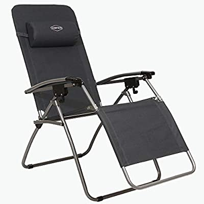 Kamp-Rite KAMPAC079 Outdoor Furniture Camping Beach Patio Sports Anti Gravity Folding Reclining Chair, Gray