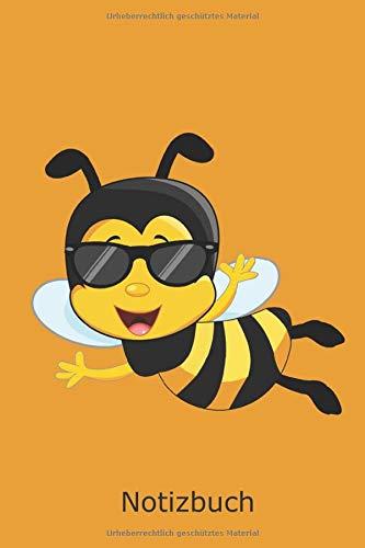 Biene mit Sonnenbrille Notizbuch: Gelb Schwarz gestreift süsse Insekt Honigbiene Planen Notieren Rechenheft Liniert Journal A5 120 Seiten 6x9 Heft ... Bienenzüchter Jungs Mädchen Schüler Schülerin