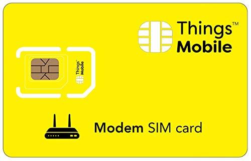 SIM Card per MODEM Things Mobile con copertura globale e rete multi-operatore GSM 2G 3G 4G LTE, senza costi fissi, senza scadenza e tariffe competitive, con 10 € di credito incluso