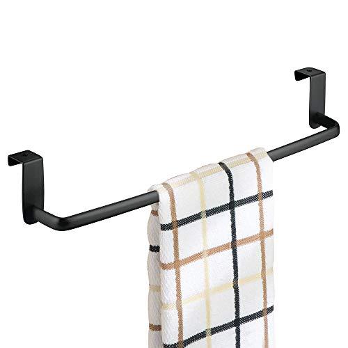 mDesign Soporte para Toallas y repasadores -Toallero para Cocina Colgante - Accesorio para Armario, se coloca sobre la Puerta sin Herramientas - Largo: 37 cm - Negro Mate