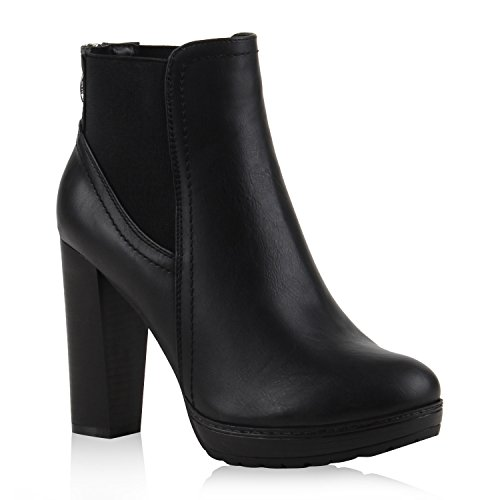 Damen Ankle Boots Plateau Stiefeletten Zipper Holzoptikabsatz Schuhe 111135 Schwarz 39 Flandell