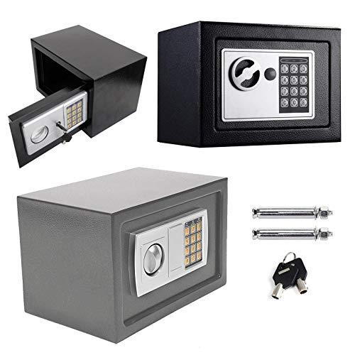 Tresor Klein Elektronischer Safe Schlüsseltresor Minisafe Wandtresor Mini Tresor Stahlsafe Möbeltresor Wandsafe Digital Sicher, 4.6L -Grau