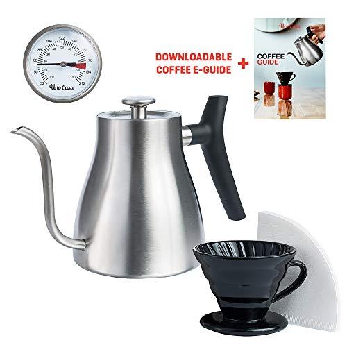 Uno Casa Schwanenhals Wasserkocher Edelstahl für alle Herdplatten – Pour Over Kaffebereiter mit Thermometer für Kaffee und Tee