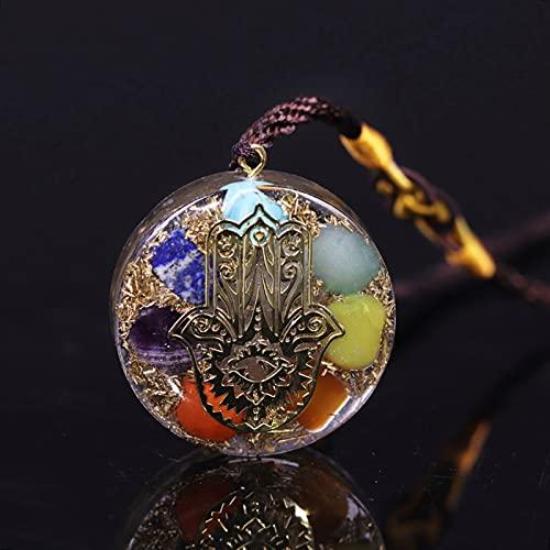 ACEACE 7 Collar de Chakra Reiki Colgante de energía Collar de Resina de joyería de meditación