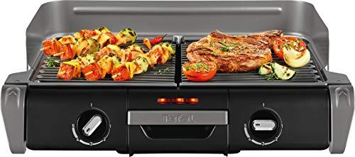 Tefal Elektrogrill Family TG8000 | Tischgrill/BBQ | Für drinnen und draußen | Zwei getrennte Grillroste mit stufenlosen Thermostaten, individuell regulierbar | Spülmaschinengeeignet | 2400W
