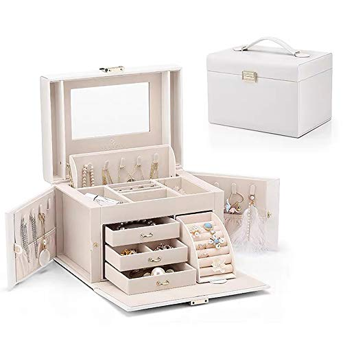 Vlando Mirrored Wooden Jewelry Box Organizers for Girls Women - Necklaces Earrings Rings Watches Storage Case Holder - Vintage Gift Box (Pearl White)