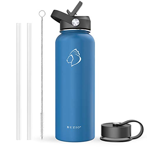 BUZIO Stainless Steel Water Bottle (Cold for 48 Hrs, Hot for 24 Hrs), 40 oz Vacuum Insulated Water Bottle with Straw Lid and Flex Cap (Double Wall, Wide Mouth, BPA Free, Leak Proof), Cobalt