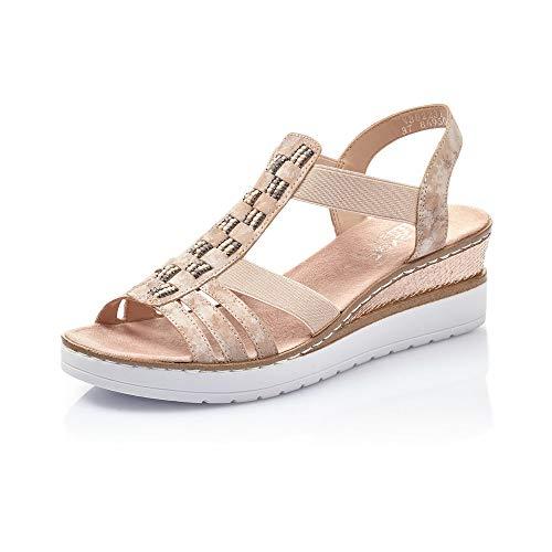 Rieker Femme Sandales V3822, Dame Sandales compensées,Sandales compensées,Chaussures d'été,Confortable,Haut,Rosa,40 EU / 6,5 UK