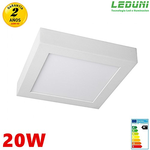 LEDUNI ® Downlight Plafón Superficie LED Cuadrado 20W 1640LM Color Blanco Neutro 4000K Angulo 120 IP40 OPAL Aluminio 225 * 225 * 40Hmm