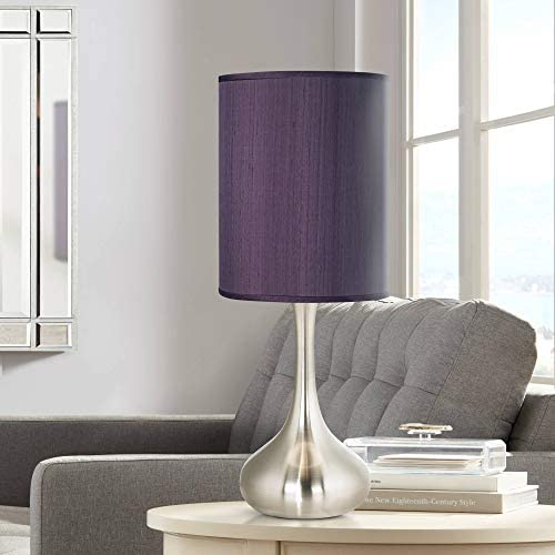 Modern Accent Table Lamp Brushed Steel Droplet Eggplant Faux Silk Cylinder Shade for Living product image
