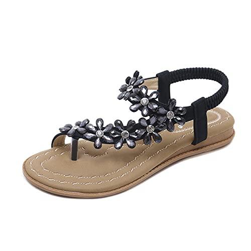 LYNLYN Sandalias Bohemia Sandalias para Mujer Bohemia Flores Rhinestone Cómodo Zapatos Planos Sandalias de Mujer Sandalias Sandalias de Mujer (Color : Schwarz, Size : 37 EU)