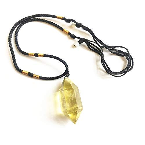 LULIJP Natürliche Stein Anhänger Kristall Halskette Quarzschmuck, der doppelt spitz Sechsecker Prisma Anhänger Macht