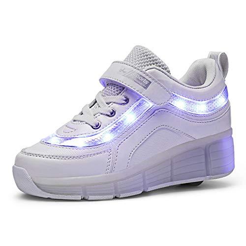 Zapatillas Deportivas LED para Niños Unisex LED Luz Flash Zapatos De Roller Patines USB Recargable Skate Zapatillas Al Aire Libre Skateboard Sneaker para niños y niña Calzado de Deportes de Exteri