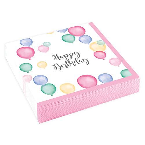 Amscan 9903863 - Servietten Happy Birthday, 20 Stück, 25 x 25 cm, Pastel, Geburtstag