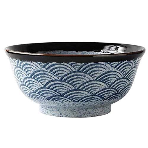 1yess Cerámica Japonesa Ramen Cuencos, Super Gran apilables Ronda Cuencos de Sopa, Fina Porcelana Cereal Pasta Sirviendo Conjuntos Bowl (Color: 1PC, Tamaño: 16 CM) (Color : 5pcs, Size : 18.2CM)