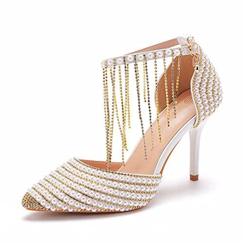 AORISSE Zapatos De Novia De Mujer, Zapatos De Novia con Pulsera De Diamantes De Imitación con Borlas Doradas, Zapatos De Foto De Boda En Punta De Tacón Alto De 9 cm,Oro,42EU