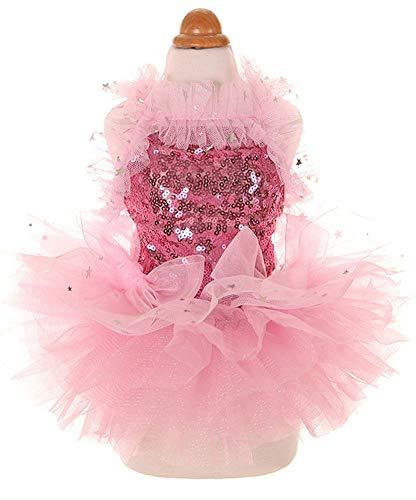 MaruPet Fashion Sweet Puppy Dog Blingbling Princess Skirt Pet Dog Lace Cake Camisole Tutu Dress Pink XXS