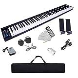 ニコマク NikoMaku 電子ピアノ 88鍵盤 SWAN 2021年1月最新版 コンパクト 軽量 スリムデザイン ワイヤレスMIDI対応 ペダル ソフトケース 譜面台 練習用イヤホン 鍵盤シール付き