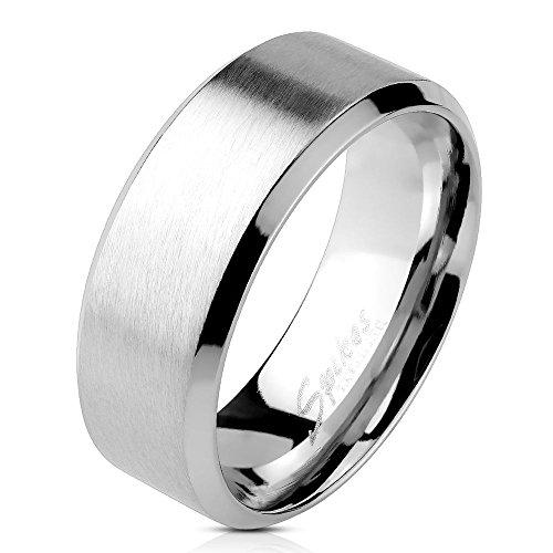 Bungsa® 60 (19.1) Edelstahl Ring mit schrägem Rand Silber gebürstet Schmuckringe für Damen und Herren Verlobungsringe (Ring Fingerring Partnerringe Verlobungsringe Trauringe Damenring Chirurgenstahl)