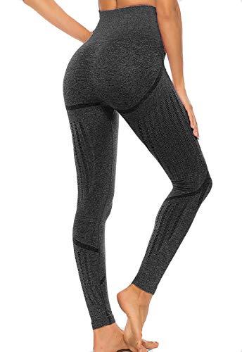 FITTOO Leggings Sin Costuras Corte de Malla Mujer Pantalon Deportivo Alta Cintura Yoga Elásticos Fitness Seamless Negro-2 Small