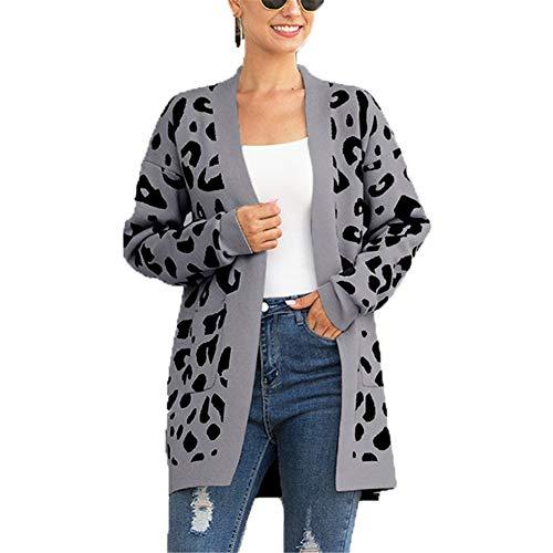 ZFQQ suéter de otoño e Invierno para Mujer, suéter de Punto con Estampado de Leopardo Suelto de Longitud Media