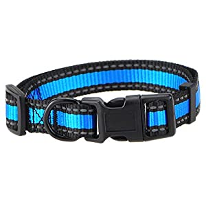 Mile High Life Dog Collar | Reflective 3M Stripe with Nylon Band (Blue/Black, X-Small Neck 9″-13″ -20 lb)