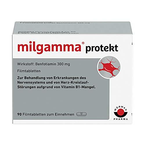 milgamma protekt (Film) tabletten bei einer auf einem Vitamin-B1-Mangel beruhenden Neuropathie. Geeignet für Diabetiker. Mit Benfotiamin, 90 Stück