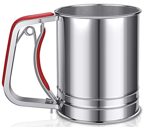 YongLy Stainless Steel Flour Sifter with Silicone Handle Fine Mesh Strainer for kitchen Baking, 3 Cup, Red