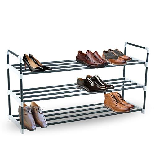 KEPLIN Schuhregal mit 3 Etagen, robustes Metall, Schuhwerk, Aufbewahrungsregal für ordentliche Garderobe, Flur, Schlafzimmer, schnelle Montage, kein Werkzeug erforderlich, 90 x 29 x 53cm (grau)
