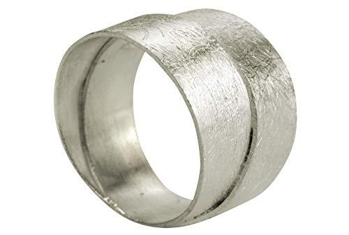SILBERMOOS Damen Ring Bandring Schmiedering doppelter Ring zwei Schienen zweifach gebürstet Sterling Silber 925, Größe:62 (19.7)