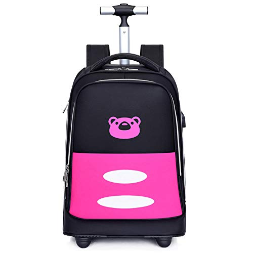 ZZLHHD Rolling Backpack for Kids,Big wheel tie bag, waterproof USB travel bag-Red a, Trolley Case for Children School