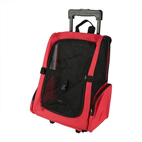 SOULONG 2 En 1 Mochila de Viaje con Ruedas para Mascotas Bolso del Carro del Animal Doméstico para Perro y Gato(Rojo)