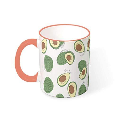 O2ECH-8 11 oz Avocado Graphics Wasser Kaffee Becher mit Griff Porzellan Glossy Becher - Fruit Klassenkamerad Geschenke, Anzug für Büro verwenden Persimmon 330ml