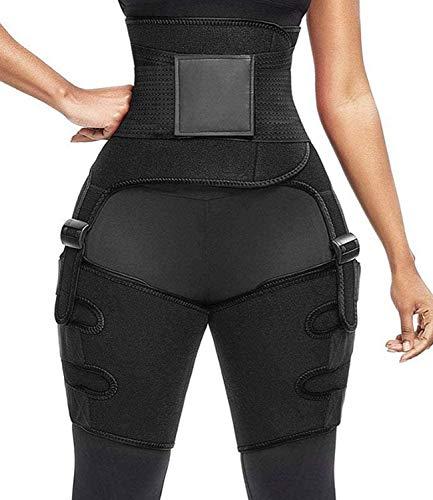 COMFREE 3 in 1 Efecto Sauna Faja Lumbar Neopreno Fajas Reductoras Mujer Cintura Butt Lifter Quema de Grasas Negro L