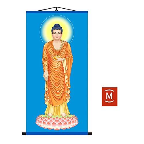 Z-GJM South Amitabha, Western Sansheng, Sakyamuni, Guanyin Buddha, Family Buddha, Tibetaanse koning Stuur Leiderschap, Stuur vrienden en familie, High-End Sfeer, Geschikt voor collectie 45 * 90cm M